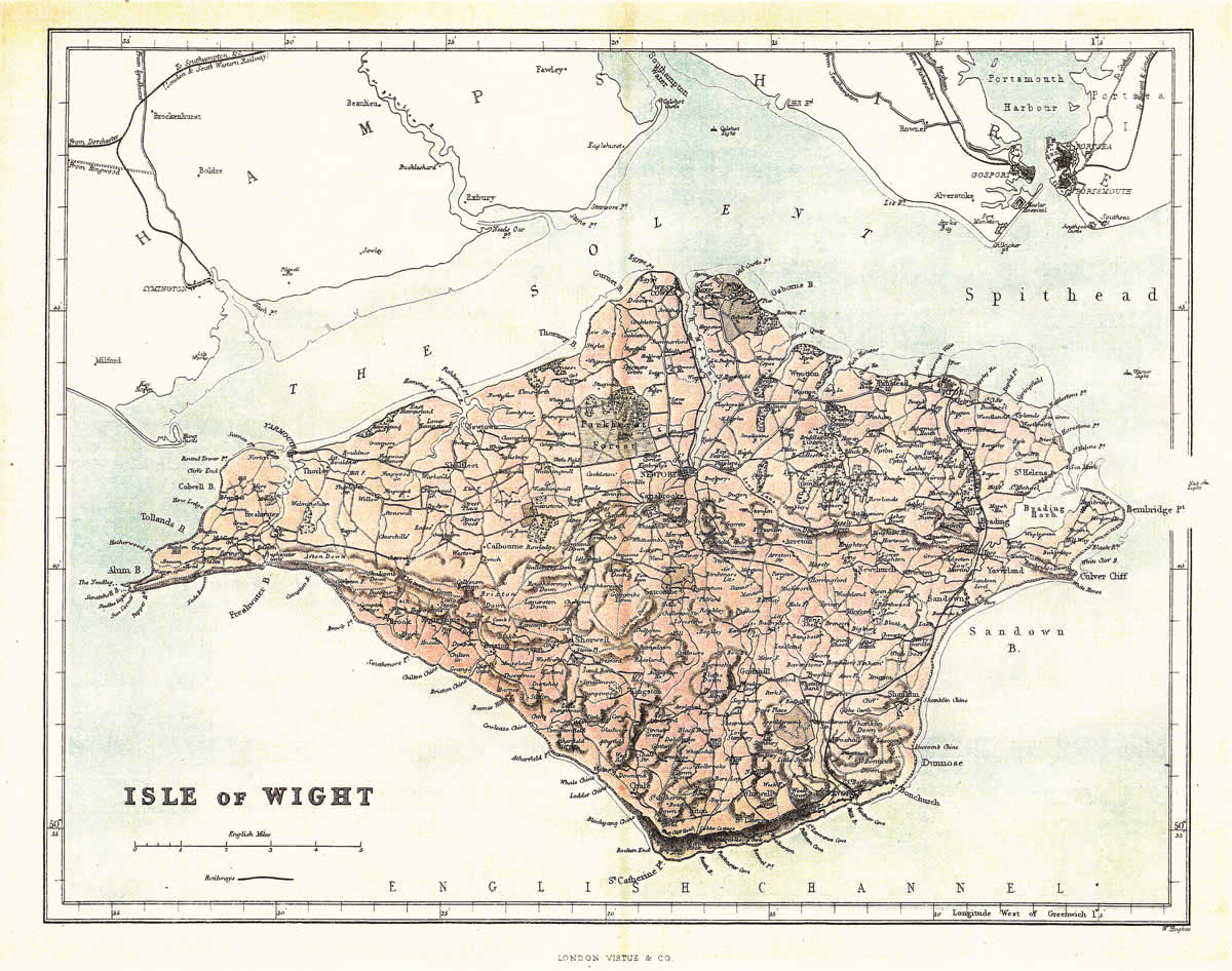 Reproduction County Maps Example - Isle of Wight 1875