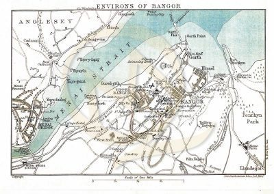 Reproduction Map - Street Plan Example Bangor 1922