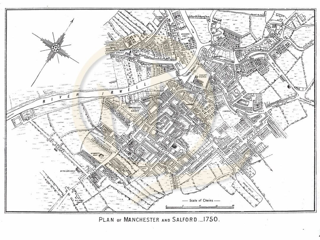 Reproduction-Map-Street-Plan-Example-Manchester-and-Salford-1750 Map Reproductions on